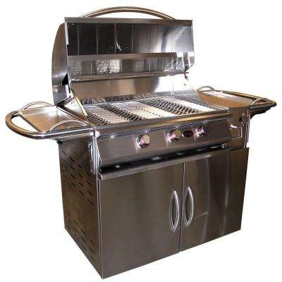 A La Plus 3-Burner Propane Gas Grill in Stainless Steel with Cart