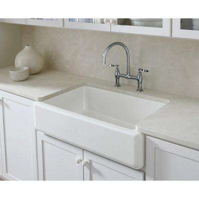 Whitehaven Undermount Farmhouse Apron Front Cast Iron 36 in. Single Bowl Kitchen Sink in White