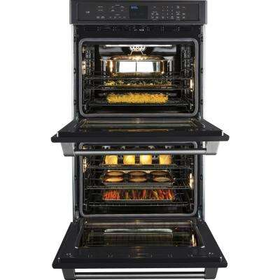 Cafe 30 in. Double Electric Smart Wall Oven Self-Cleaning with Convection and WiFi in Black Slate, Fingerprint Resistant