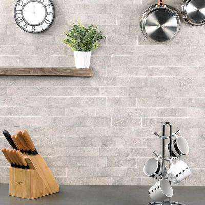 Essential Limestone Ash 12 in. x 24 in. 10mm Matte Porcelain Floor and Wall Mosaic Tile (6 pieces / 11.62 sq. ft. / box)