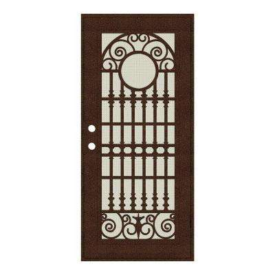 36 in. x 80 in. Spaniard Copperclad Right-Hand Surface Mount Aluminum Security Door with Beige Perforated Screen