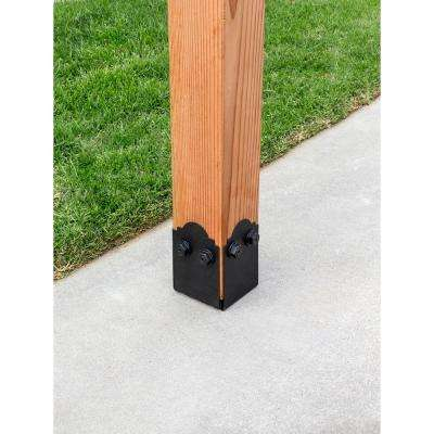 Outdoor Accents Mission Collection ZMAX Black Post Base Side Plate for 6x Lumber (2-Pack)