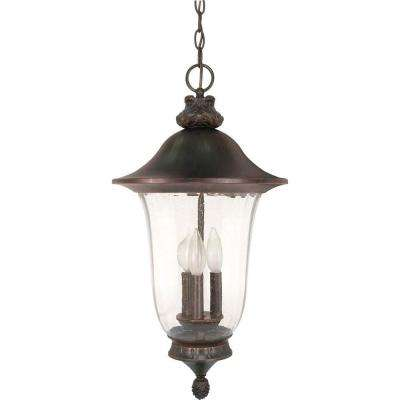 3-Light Outdoor Old Penny Bronze Incandescent Pendant Light