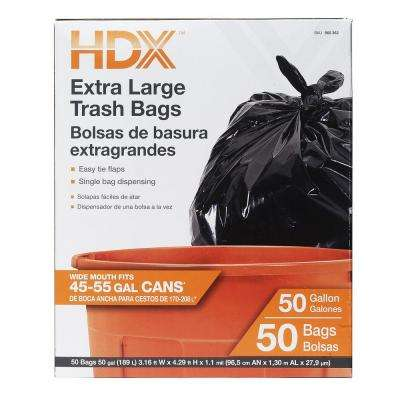 50 Gal. Extra Large Black Trash Bags (50-Count)