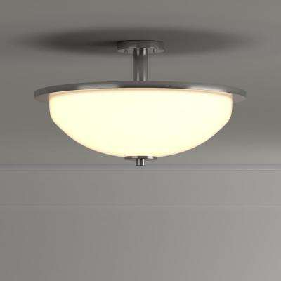 Replay 1-Light Brushed Nickel LED Semi-Flush Mount Light