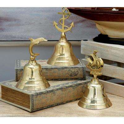 7 in. x 4 in. Nautical Brass Bells in Polished Gold