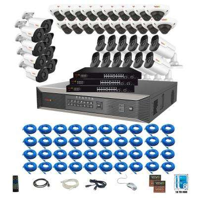 64-Channel 4K SMART NVR, 16TB and 40X 2K Ultra Plus Wired Security Camera System wtih Indoor/Outdoor IR Audio Cameras