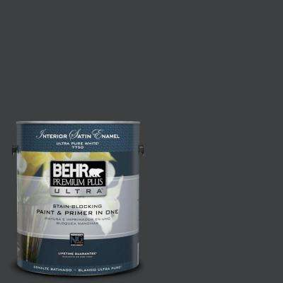 Home Decorators Collection 1-gal. #HDC-MD-04 Totally Black Satin Enamel Interior Paint
