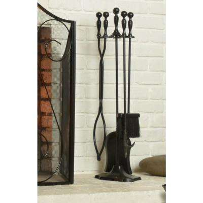 5-Piece Heavy-Duty Cast Iron Fireplace Tool Set in Black with Ergonomically Designed Handles