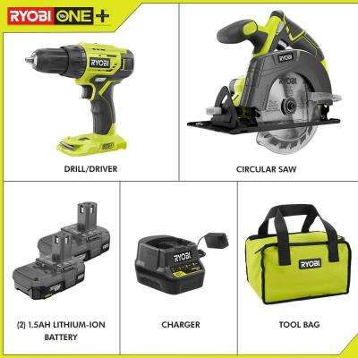 18-Volt ONE+ Lithium-Ion Cordless 2-Tool Combo Kit w/ Drill/Driver, Circular Saw, (2) 1.5 Ah Batteries, Charger, and Bag