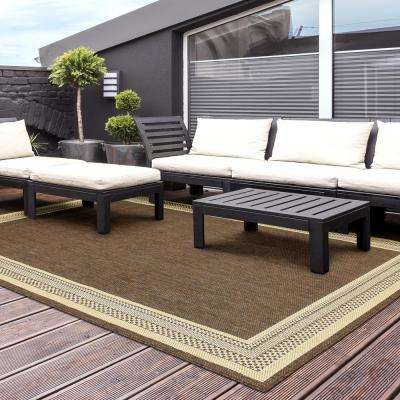 Border Brown Flat Woven Weave 7 ft. x 11 ft. Indoor/Outdoor Area Rug
