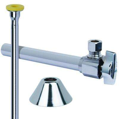 Toilet Kit: 1/2 in. Nom Sweat x 3/8 in. O.D. Comp 1/4 Turn Angle Ball Valve with 5 in. Extension, 12 in. Riser, Flange
