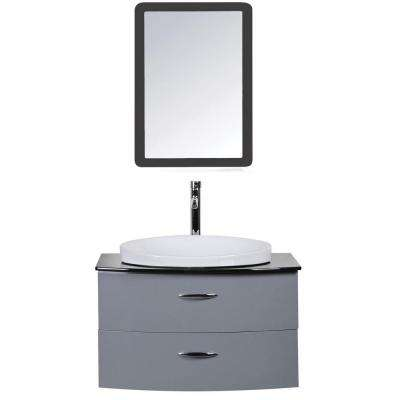 Adora 32 in. W x 21.45 in. D Vanity in Gray with Tempered Glass Vanity Top in Black with White Basin and Mirror