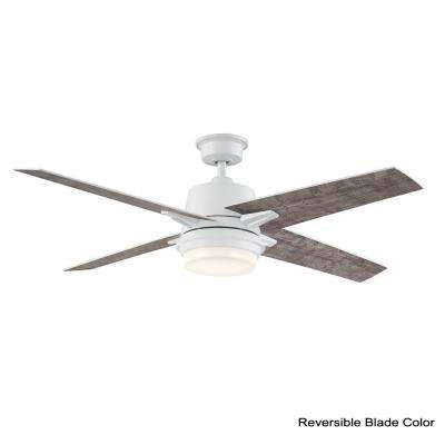 56 in. Montel LED Glossy White Ceiling Fan With Light and Remote Control