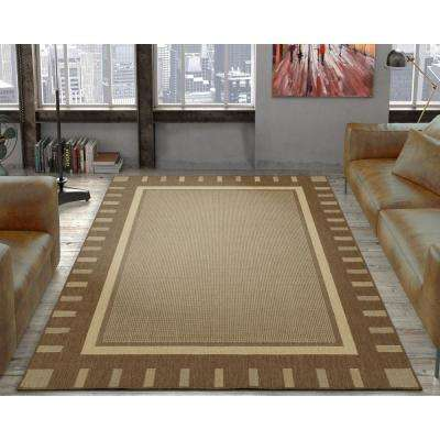 Jardin Collection Contemporary Bordered Design Brown 5 ft. x 7 ft. Outdoor Area Rug