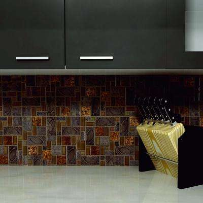 Garden Versailles Walnut Ceramic and Glass Mosaic Tile - 6 in. x 6 in. Tile Sample