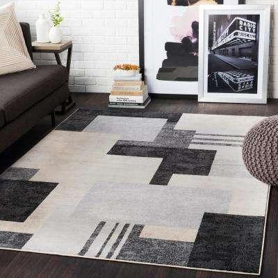 Astvin Black 7 ft. 10 in. x 10 ft. 3 in. Geometric Area Rug