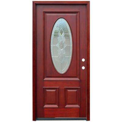 Traditional 3/4 Oval Stained Mahogany Wood Prehung Front Door