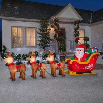 5 ft. H x 14 ft. L Airblown Inflatable Santa in Sleigh Scene