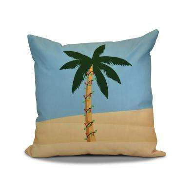 16 in. Palm Tree with Christmas Lights Holiday Pillow in Blue