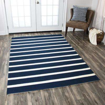 Azzura Hill Navy Striped 9 ft. x 12 ft. Indoor/Outdoor Area Rug
