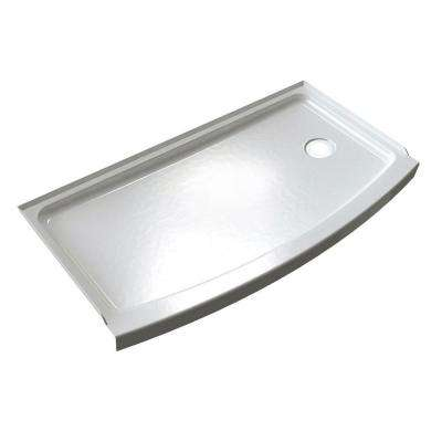 Ovation Curve 30 in. x 60 in. Single Threshold Right Hand Drain Shower Base in Arctic