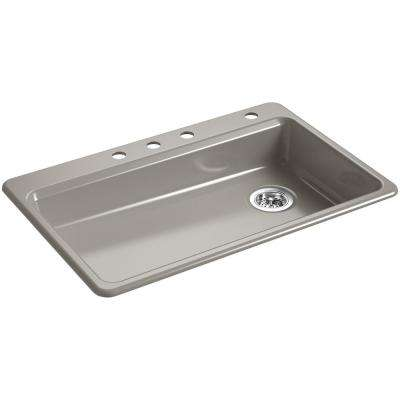 Riverby Top-Mount Cast Iron 33 in. 4-Hole Single Bowl Kitchen Sink in Cashmere