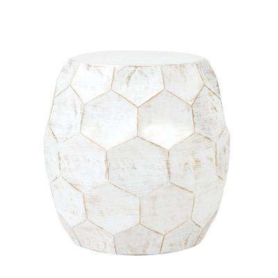 Honeycomb Distressed White End Table
