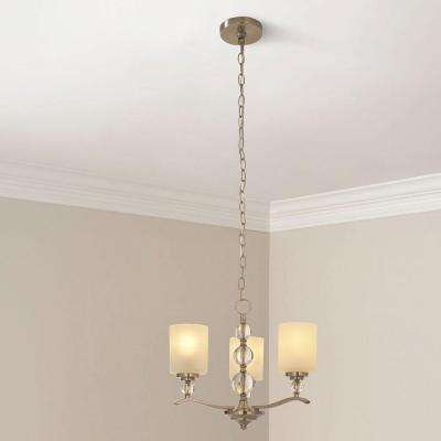 Laurel Hill 3-Light Brushed Nickel Chandelier with Opal Glass Shades and Glass Ball Accents