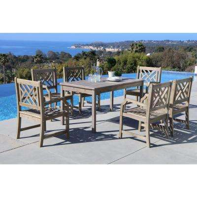 Renaissance Hand-Scraped Acacia 7-Piece Patio Dining Set with Herringbone-Back Armchairs