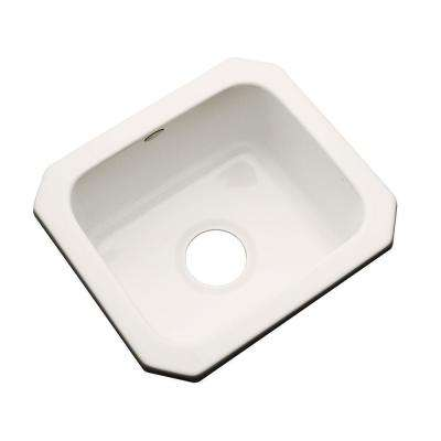 Manchester Undermount Acrylic 16 in. 0-Hole Single Bowl Entertainment Sink in Bone