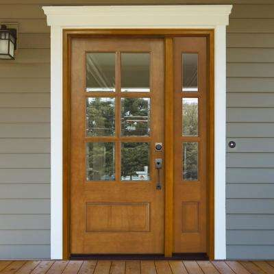 54 in. x 80 in. Craftsman Savannah 6 Lite LHIS Autumn Wheat Mahogany Wood Prehung Front Door with Single 14 in. Sidelite