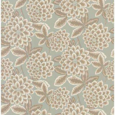 56 sq. ft. Zinnia Floral Wallpaper