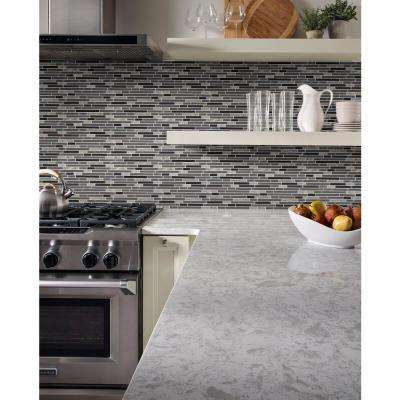Lorena Grigio Interlocking 12 in. x 12 in. x 4mm Textured Glass Stone Mesh-Mounted Mosaic Tile (0.98 sq. ft.)