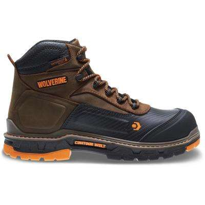 Men's Overpass Brown Leather Waterproof Composite Toe Work Boot