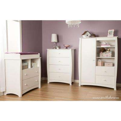 Beehive 42-1/2 in. x 31-1/2 in. 4-Drawer Chest in Pure White