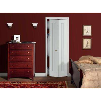 24 in. x 80 in. Madison White Painted Smooth Molded Composite MDF Closet Bi-fold Door