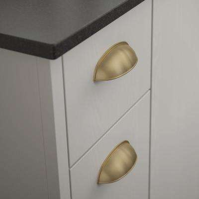 2 -1/2 or 3 in. (64 or 76mm) Center-to-Center Champagne Bronze Dual Mount Cup Drawer Pull