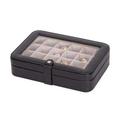 Elaine Black Faux Leather Jewelry Box