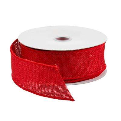 18 ft. Burlap Wired Ribbon, Red