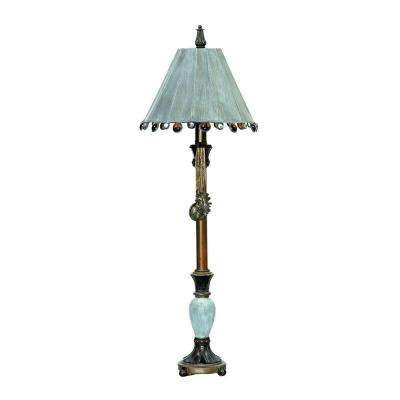 Rustic Tiffany 30 in. Bronze and Blue Table Lamp