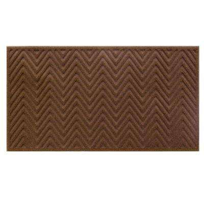 Brown Chevron 17 in. x 30 in. Door Mat