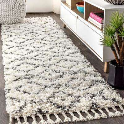 Mercer Shag Plush Tassel Moroccan Diamond Cream/Grey 2 ft. x 8 ft. Runner Rug