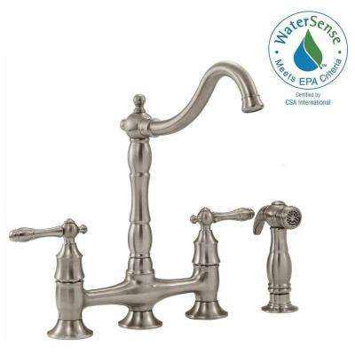 Lyndhurst 2-Handle Bridge Side Sprayer Kitchen Faucet in Brushed Nickel