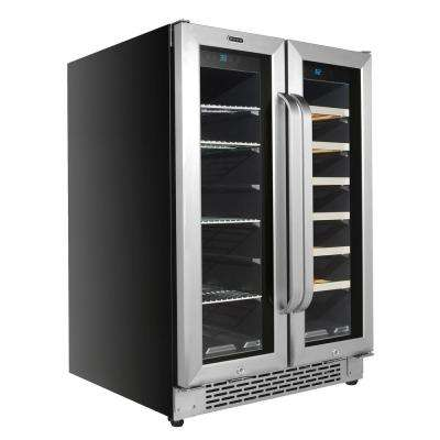 24 Built-In French Door Dual Zone 20 Bottle Wine Refrigerator 60 Can Beverage Center