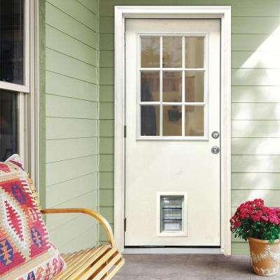 32 in. x 80 in. Classic Clear 9 Lite RHOS White Primed Fiberglass Prehung Front Door with Med Pet Door