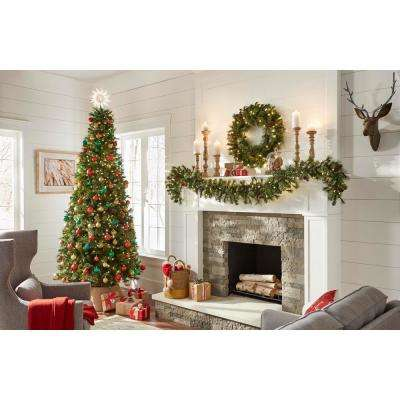 9 ft. Alexander Pre-Lit LED Pine Artificial Christmas Garland with 165 Tips and 100 Warm White Lights