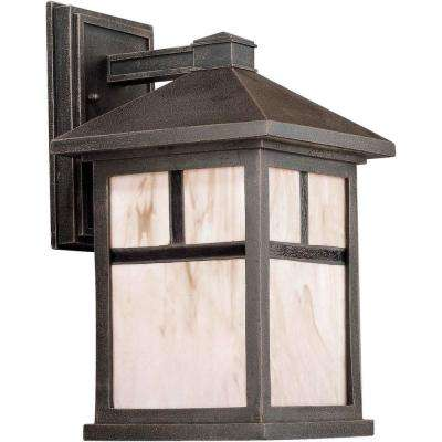 1-Light Outdoor Painted Rust Lantern with Honey Glass Panels