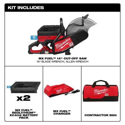 MX FUEL Lithium-Ion Cordless 14 in. Cut Off Saw Concrete Kit with (2) Batteries and Charger