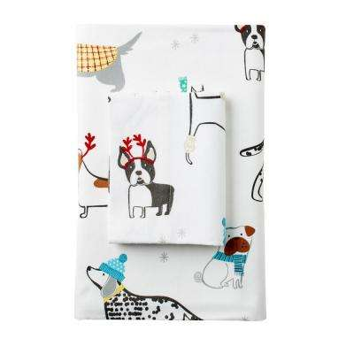Holiday Dog Flannel Flat Sheet